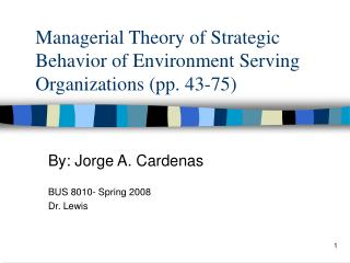 Managerial Theory of Strategic Behavior of Environment Serving Organizations (pp. 43-75)