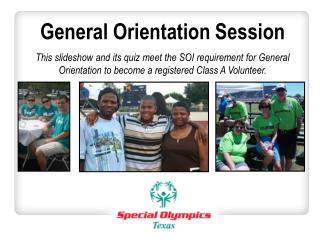 General Orientation Session