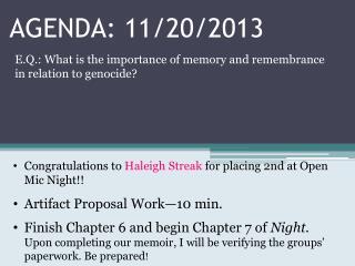 AGENDA: 11/20/2013