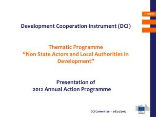 Development Cooperation Instrument (DCI) Thematic Programme