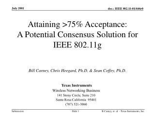 Attaining >75% Acceptance: A Potential Consensus Solution for IEEE 802.11g