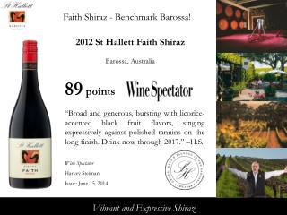 2012  St Hallett Faith Shiraz Barossa, Australia