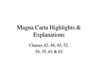 Magna Carta Highlights & Explanations