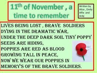 11 th  of November , a time to remember