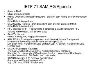 IETF 71 SAM RG Agenda