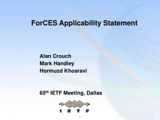 ForCES Applicability Statement