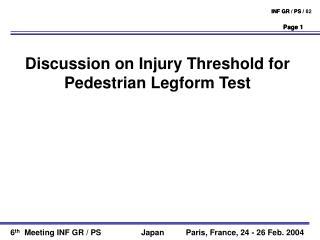 Discussion on Injury Threshold for Pedestrian Legform Test
