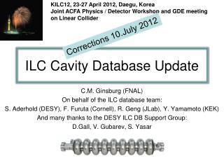 ILC Cavity Database Update