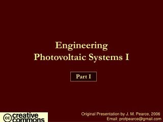 Engineering  Photovoltaic Systems I