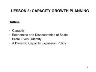 LESSON 3: CAPACITY GROWTH PLANNING
