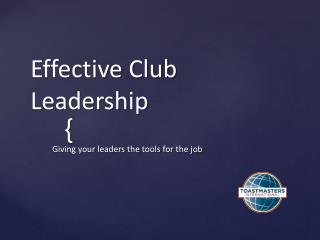 Effective Club Leadership
