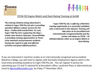 STCW-95 Engine Watch and Deck Rating Training  at ALAM