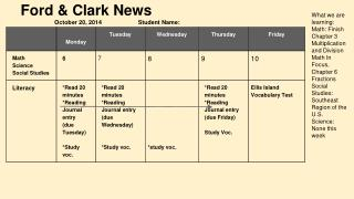 Ford & Clark News October 20, 2014                      Student Name: