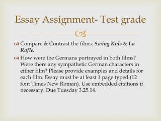 Essay Assignment- Test grade