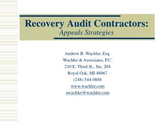 Recovery Audit Contractors: Appeals Strategies