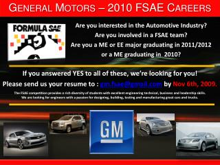 General Motors – 2010 FSAE Careers