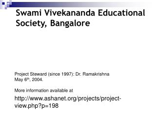 Swami Vivekananda Educational Society, Bangalore