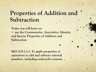 Properties of Addition and Subtraction