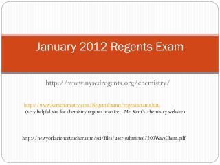 January 2012 Regents Exam