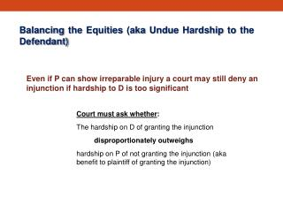 Balancing the  Equities (aka Undue  Hardship to the  Defendant)