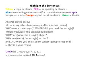 Highlight the Sentences