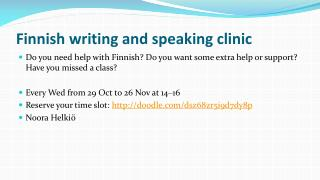 Finnish writing  and  speaking clinic