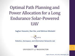 Optimal  Path Planning  and Power Allocation for  a Long  Endurance Solar-Powered UAV