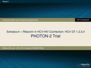 Sofosbuvir + Ribavirin in HCV- HIV Coinfection: HCV  GT 1,2,3,4 PHOTON-2 Trial