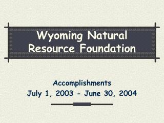 Wyoming Natural Resource Foundation