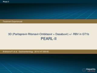3D (Paritaprevir-Ritonavir- Ombitasvir +  Dasabuvir) +/-  RBV in  GT1b PEARL-II