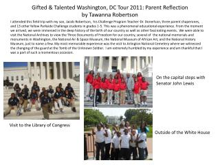 Gifted & Talented Washington, DC Tour 2011: Parent Reflection by Tawanna Robertson