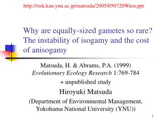 Why are equally-sized gametes so rare? The instability of isogamy and the cost of anisogamy