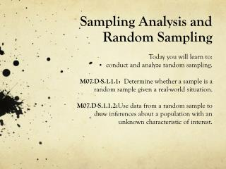 Sampling Analysis and Random Sampling