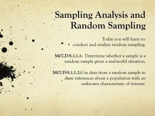 Sampling Analysis and Random Sampling