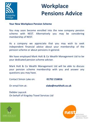 Your New Workplace Pension Scheme