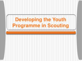 Developing the Youth Programme in Scouting