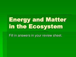 Energy and Matter in the  Ecosystem