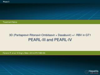 3D ( Paritaprevir-Ritonavir - Ombitasvir +  Dasabuvir ) +/- RBV in GT1 PEARL-III and PEARL-IV