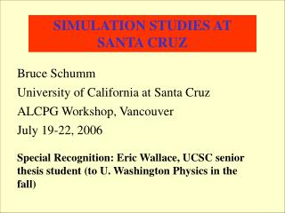 SIMULATION STUDIES AT SANTA CRUZ