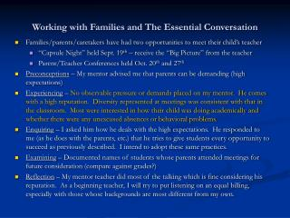 Working with Families and The Essential Conversation