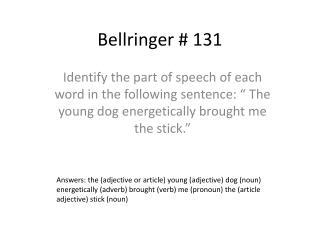 Bellringer  #  131