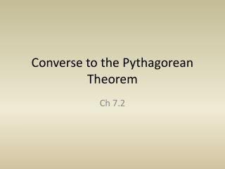 Converse to the Pythagorean Theorem