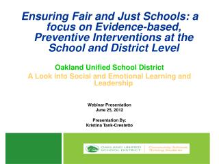 OUSD Goals for Social Emotional Learning  and Leadership