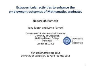 Extracurricular activities to enhance the employment outcomes of  Mathematics  graduates