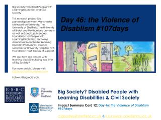 Big Society? Disabled People with Learning Disabilities & Civil Society