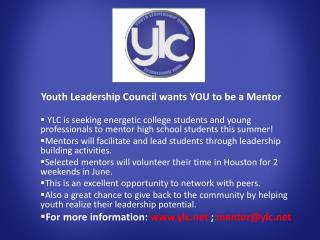 Youth Leadership Council wants YOU to be a Mentor
