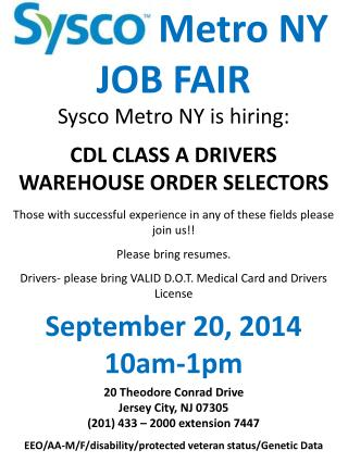 Metro NY  JOB FAIR