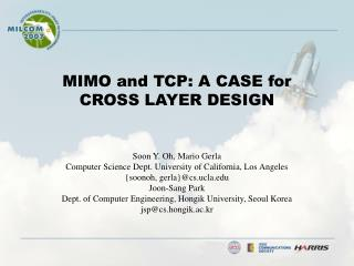 MIMO and TCP: A CASE for CROSS LAYER DESIGN