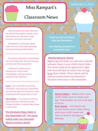 Miss Rampart's  Classroom News
