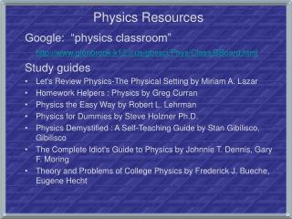 Physics Resources